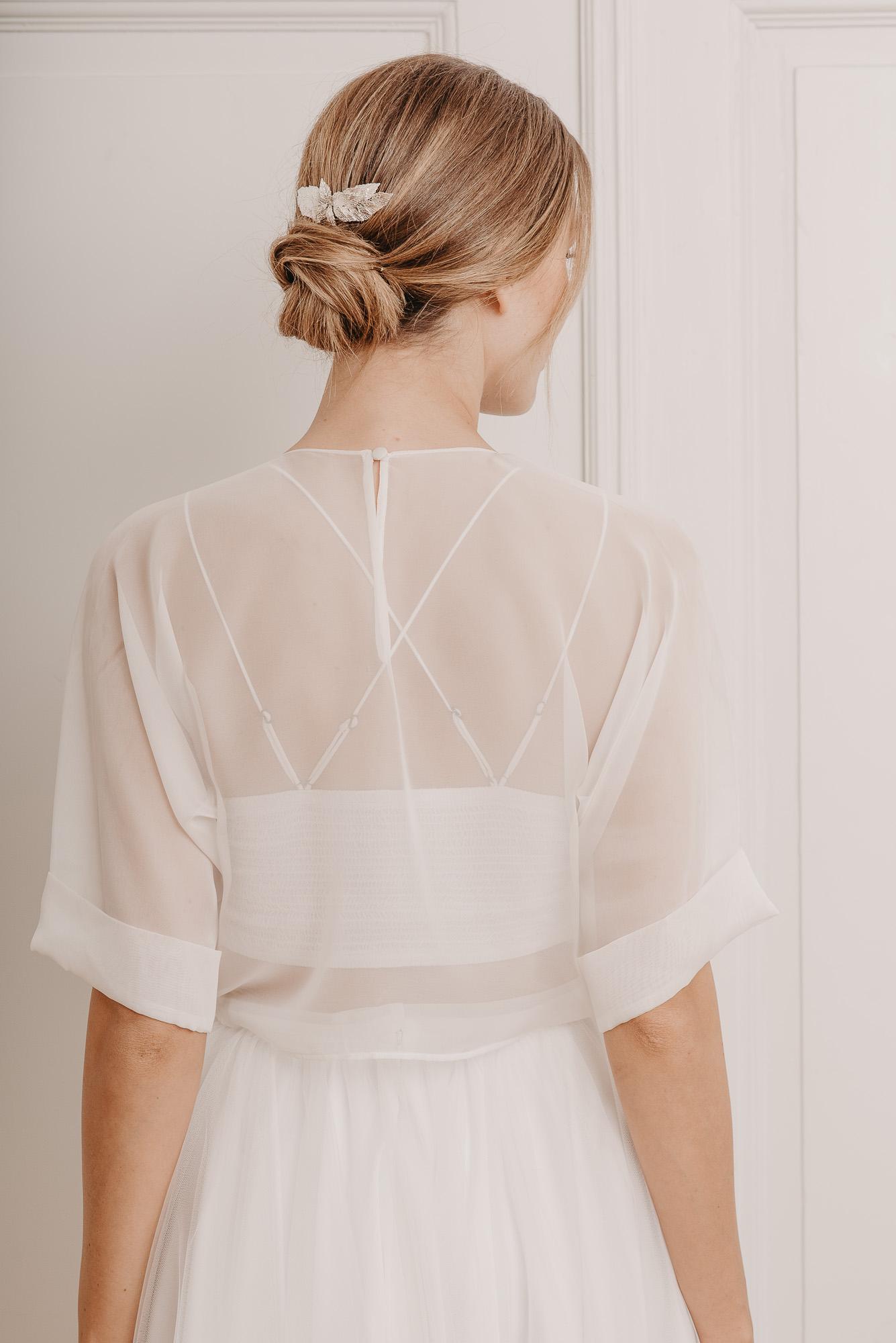 Soft Ash Seidenshirt Hinten - Mix & Match Brautmode von Oonce