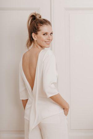 Olive Brautshirt Hinten - Mix & Match Brautmode von Oonce