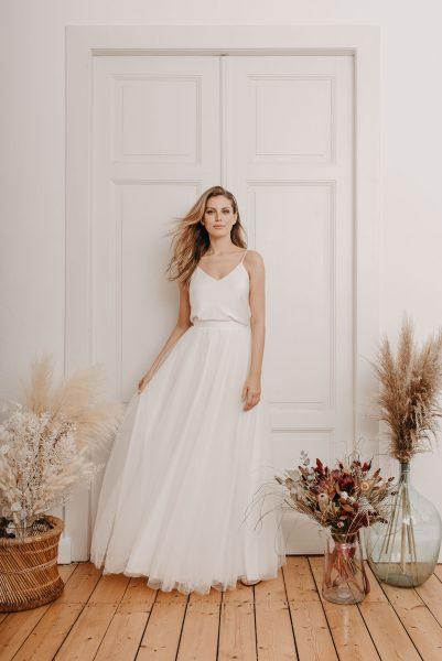 Ivy Seidentop und Lime Tüll-Rock - Brautmode von Oonce